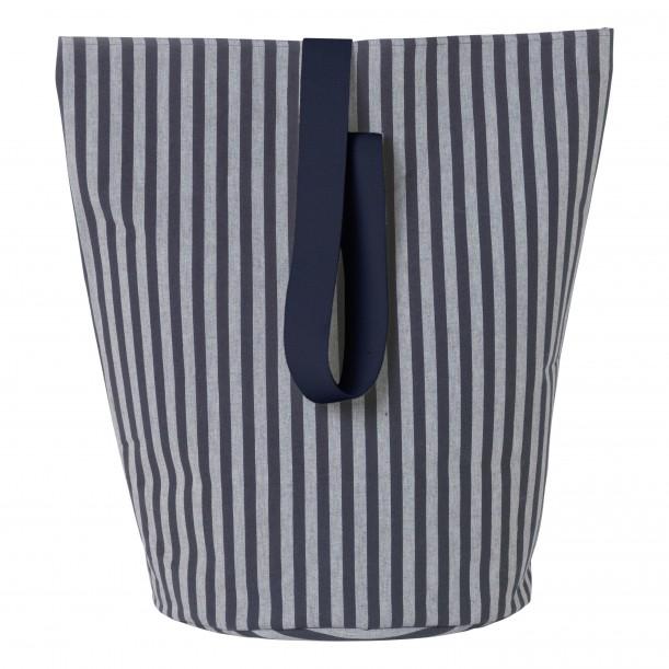 Chambray Basket Striped Blue Large Diam 40 x H 62 cm Ferm Living