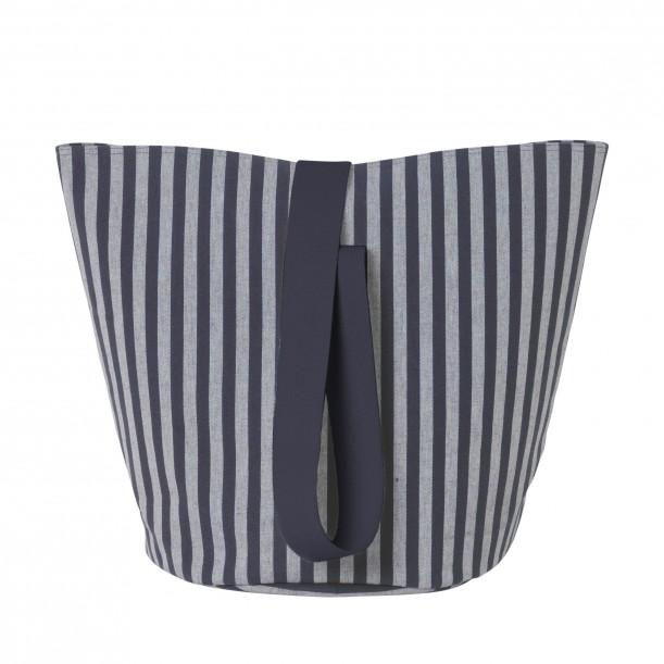 Chambray Basket Striped Blue Medium Diam 35 x H 42 cm Ferm Living