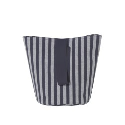 Chambray Basket Striped Blue Small Diam 22 x H 25 cm Ferm Living