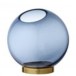 Vase Globe Verre Medium Bleu et Laiton Diam 16 cm AYTM