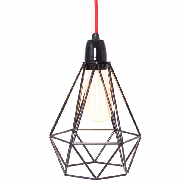 Table Lamp Diamond 1 Black and Red Filament Style