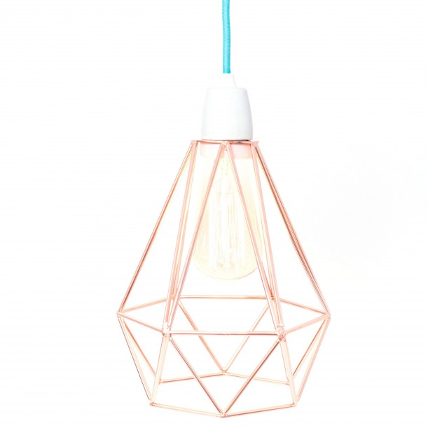 Table Lamp Diamond 1 Copper and Blue Filament Style