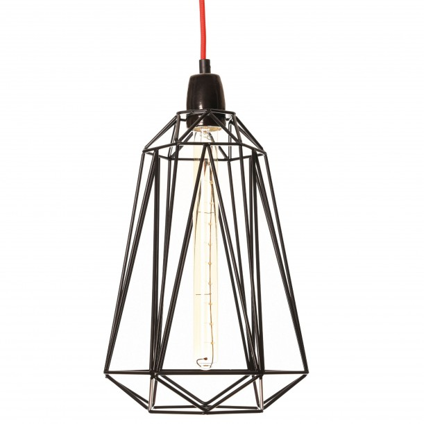 Table Lamp Diamond 5 Black and Red Filament Style