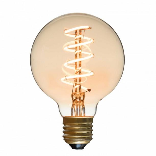 Spiral LED Bulb Globe Diam 80 mm Filament Style