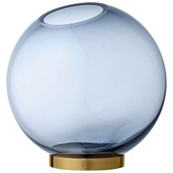 Glass Vase Globe Large Blue and Brass Diam 21 cm AYTM