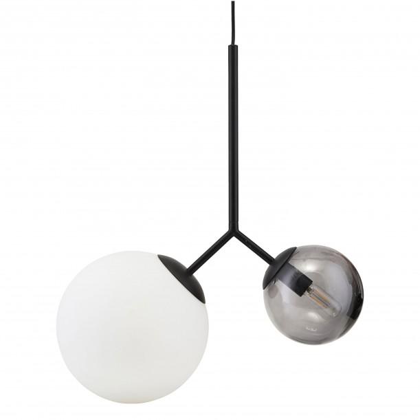 Lampe Suspension Noire Opal Twice Blanche et Grise Diam 26 & 15 cm House Doctor