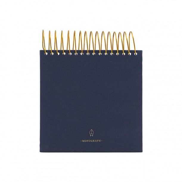 Bloc Note Spirale Bleu 14cm x 14cm Monograph