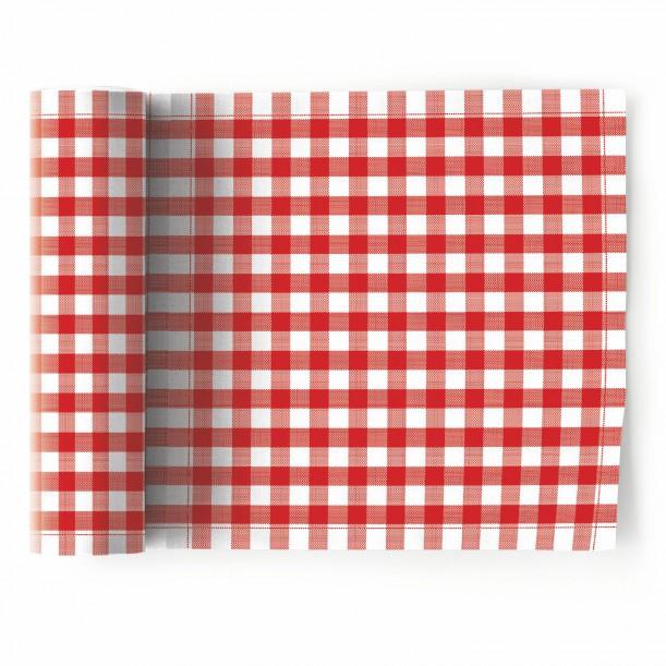 Rouleau de 12 Serviettes de Table Picnic Vichy Rouge Mydrap