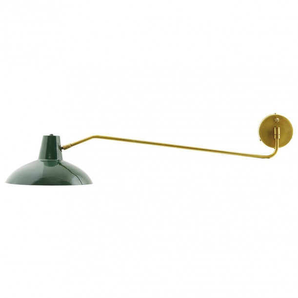 Wall Lamp Desk Green and Brass large pivot arm House Doctor