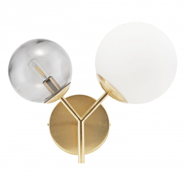 Opal Brass Twice White and Grey Wall Lamp House Doctor