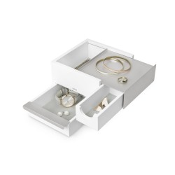 Mini Stowit Nickel and White Jewelry Box Umbra