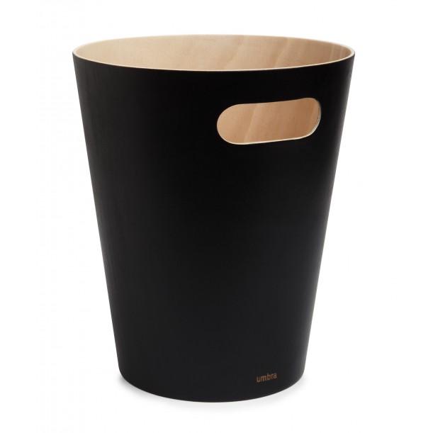 Corbeille à papier Woodrow Noire en Bois Diam 23 X H 28 cm 7,5 L Umbra