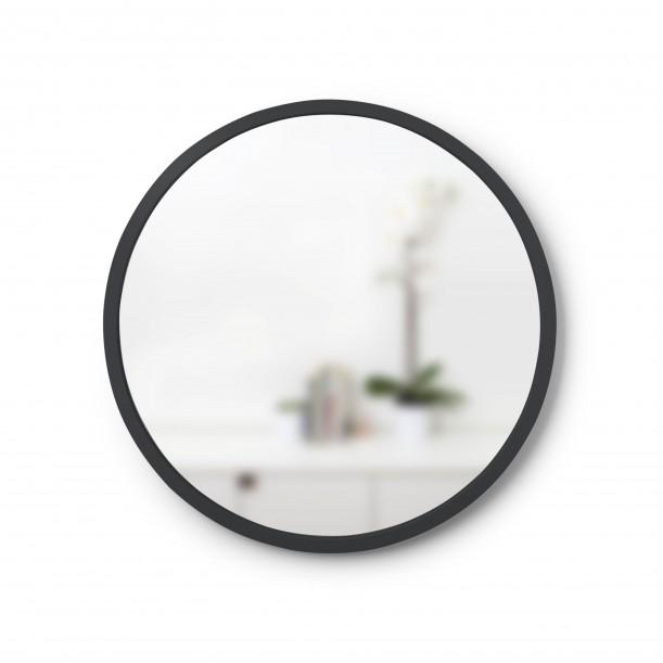 Mirror HUB Round Black Rubber Frame Small Diam 45 cm Umbra