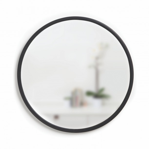 Mirror HUB Round Black Rubber Frame Medium Diam 61 cm Umbra