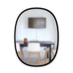 Mirror HUB Oval Black Rubber Frame Medium 45 X 61 cm Umbra