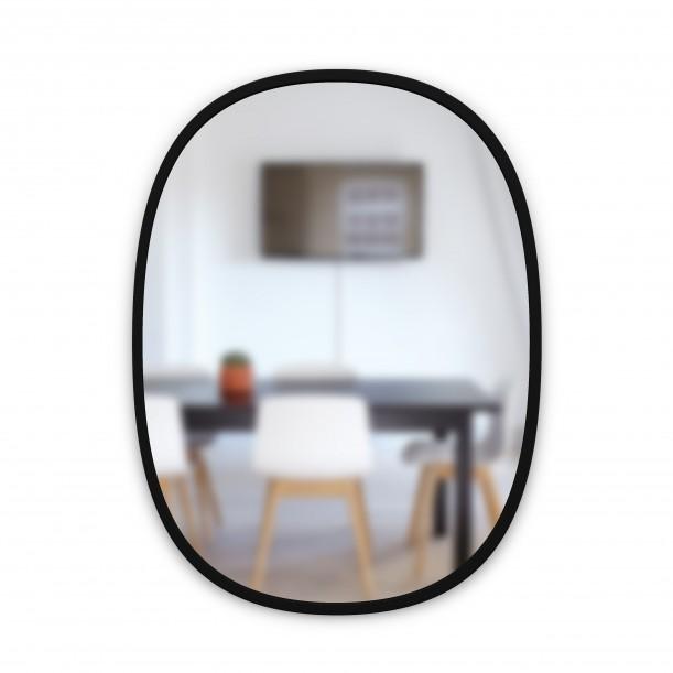 Mirror HUB Oval Black Rubber Frame Medium 45 X 61 cm Umbra