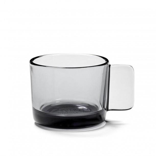 Coffee Cup HEII Smoky Grey Glass Diam 7 cm Serax