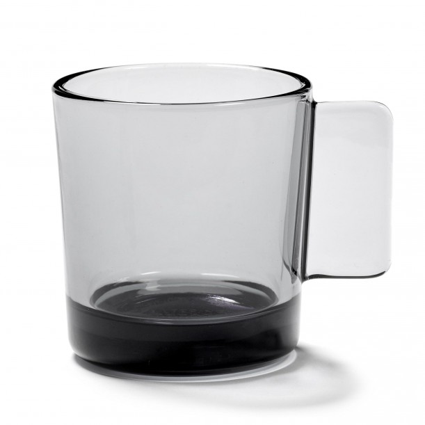 Mug HEII Smoky Grey Glass Diam 9 cm Serax