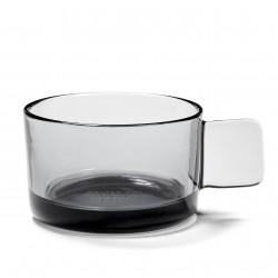 Tasse à Cappuccino HEII Verre Fumé Gris Diam 9 cm Serax