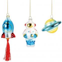 Boules de Noël Space set de 3 & klevering
