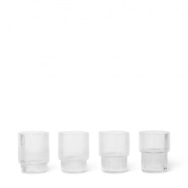 Ripple Glass Small Clear Stackable Diam 5 cm Set of 4 Ferm Living