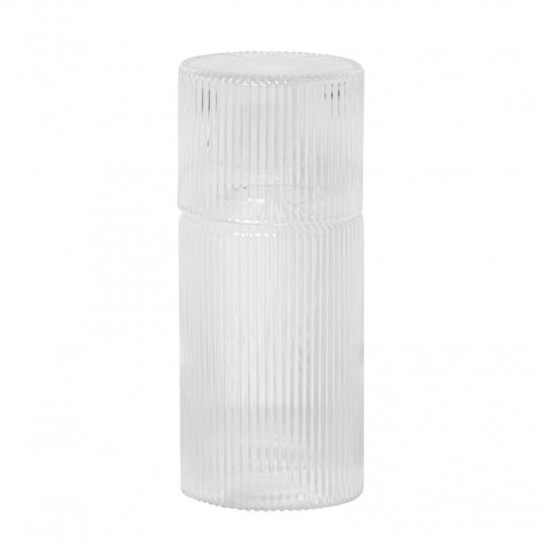 Ripple Carafe and Glass Small Clear Stackable 0,5 L Ferm Living