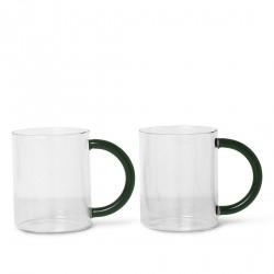Set of 2 Still Mugs Clear Glass Diam 8 cm x H 10 cm Ferm Living
