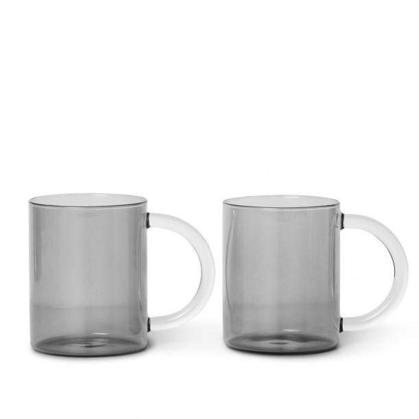 Set of 2 Still Mugs Smoked Grey Glass Diam 8 cm x H 10 cm Ferm Living