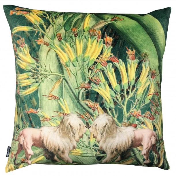 Velvet Cushion Lion Dogs 50 x 50 cm Vanilla Fly