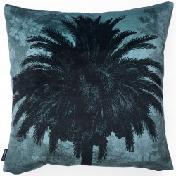 Velvet Cushion Blue Palm 50 x 50 cm Vanilla Fly