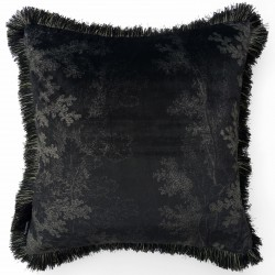 Velvet Cushion Black Woods and Fringes 50 x 50 cm Vanilla Fly