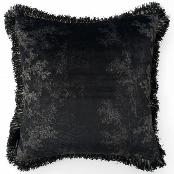 Coussin Velours Black Woods et Franges 50 x 50 cm Vanilla Fly