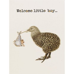Greeting Card Welcome Little Boy 9 x 13 cm Vanilla Fly