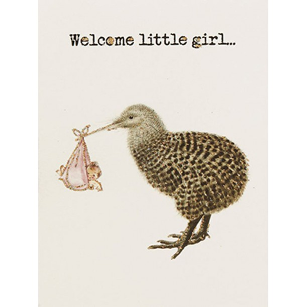 Greeting Card Welcome Little Girl 9 x 13 cm Vanilla Fly