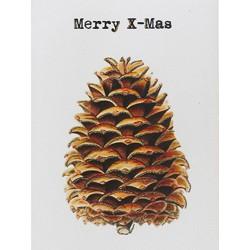 Carte Merry X Mas Pine Cone 9 x 13 cm Vanilla Fly