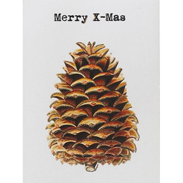 Greeting Card Merry X Mas Pine Cone 9 x 13 cm Vanilla Fly