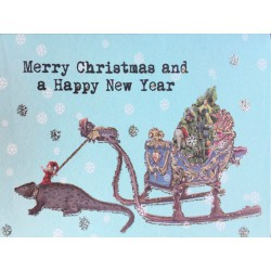 Greeting Card Crazy X Mas Sledge 9 x 13 cm Vanilla Fly