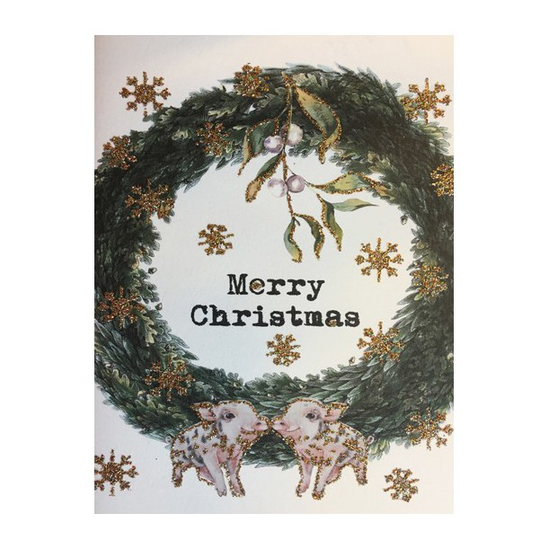 Greeting Card Merry Christmas Crown 9 x 13 cm Vanilla Fly