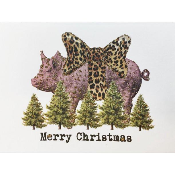Greeting Card Merry Christmas Piglet 9 x 13 cm Vanilla Fly