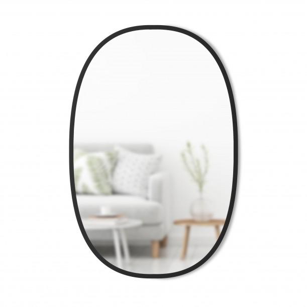 Miroir HUB Large Ovale Bord Caoutchouc Noir 61 X 91 cm Umbra