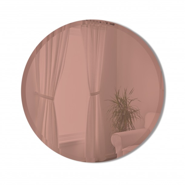 BEVY Round Mirror Medium Beveled Edge Tinted Pink Diameter 61 cm Umbra