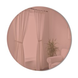 BEVY Round Mirror Large Beveled Edge Tinted Pink Diameter 91 cm Umbra