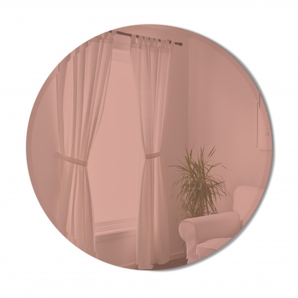 BEVY Round Mirror Large Beveled Edge Tinted Pink Diameter 91 cm Umbra
