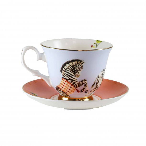 Teacup and Saucer Zebra Yvonne Ellen