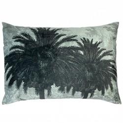 Velvet Cushion Blue Palm 50 x 70 cm