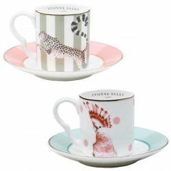 Set of 2 Coffee Cups and Saucer Cheetah