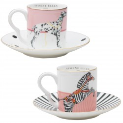 Set of 2 Coffee Cups and Saucer Zebra