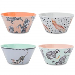 Set of 4 Melamine Bowls 15 cm