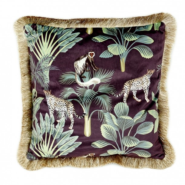 Cushion with fringes Jungle 45 x 45 cm