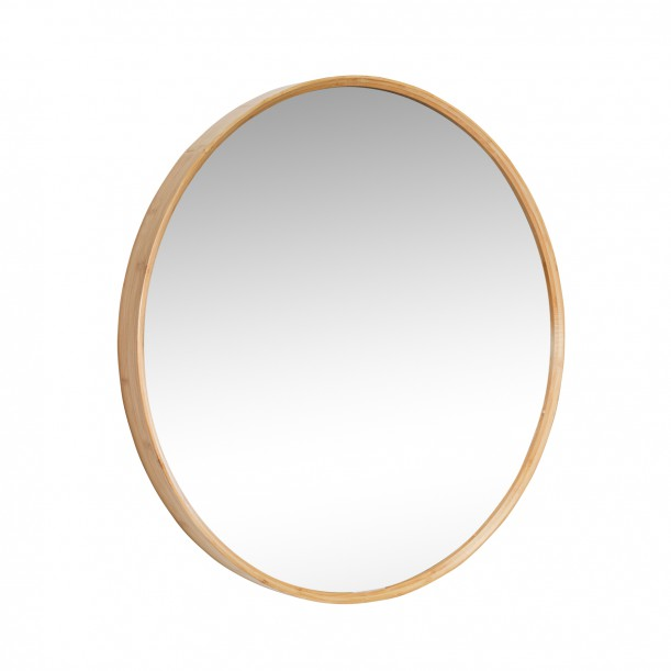 Wall Mirror Round Bamboo Frame Diam 80 cm